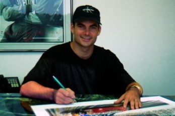 National Association  Stock  Auto Racing Thunder on Jeff Gordon Signing The  Brickyard Thunder  Print Series